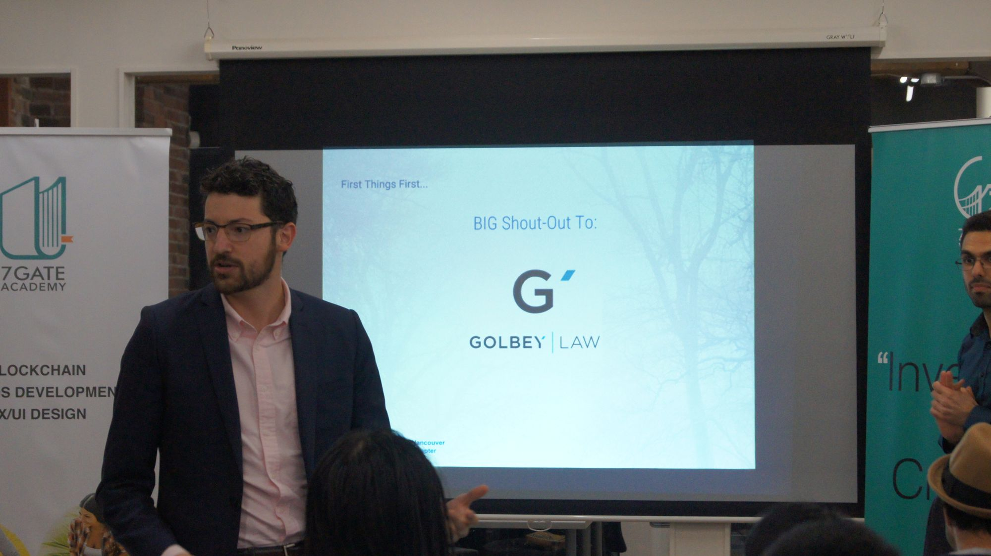 Justin gives an introduction about Golbey Law and wishes everyone good luck.